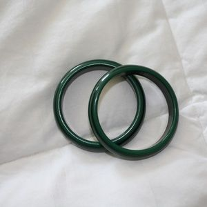 Pair of green wooden bangle bracelets 8 in